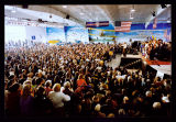 John Kerry speaking at campaign rally, Fargo, N.D.