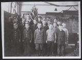 Teacher and students inside Tanner No. 1 School, Kidder County, N.D.