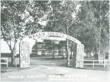 Stone gate at Wells County Fairgrounds, Fessenden, N.D.