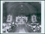 St. Mary's Church interior with congregation, Bismarck, N.D.