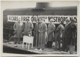 Attorney Maxwell speaking at celebration of first rail car leaving Westhope with oil, Westhope,...