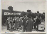 Band playing at celebration of first rail car leaving Westhope with oil, Westhope, N.D.