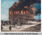 Old Capitol burning, Bismarck, N.D.