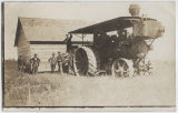 Men with steam engine tractor, probably near Beach, N.D.