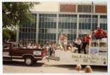 Steamer Minnie H float in Devils Lake centennial parade, Devils Lake, N.D.