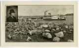 Steamer Minnie H at boat landing with buffalo bones in foreground and E.E. Heerman portrait inset