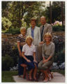 Governor Allen and Barbara Olson and family in the backyard of the Governor's Residence, Bismarck, N.D.