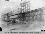 Northern Pacific Railroad bridge under construction, Bismarck, Dakota Territory