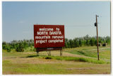 Welcome to North Dakota Mountain Removal Project Completed sign