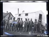 Men in front of cook car, Walsh County, N.D.