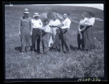 Group with pet badgers, Walsh County, N.D.