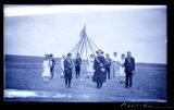 Group at celebration with May pole, Walsh County, N.D.
