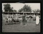 Dr. Ralph Bunche speaking at rodeo, Mandan, N.D.