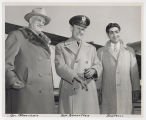 Governor C. Norman Brunsdale, General Alfred M. Gruenther and Floyd Boutrous upon Gruenther's arrival