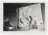 Frank Zahn presenting pipe to General Alfred M. Gruenther in the North Dakota House Chamber, Bismarck,
