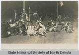 Native American drummers in front of grandstand, Morton County Fair, Mandan, N.D.