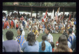 Dancers and flags at United Tribes International Powwow, Bismarck, N.D.