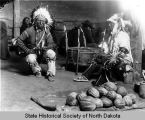 Robert Grass and Two Shields drumming on Dream Dance Drum, Fort Yates, N.D.
