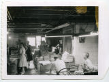 Employees working in the Pierce County Tribune shop, Rugby, N.D.