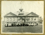 Barton School class portrait with teacher Hattie Mott and Principal Professor Leding, Barton, N.D.