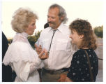 Jane Sinner speaking with John Hanson and Ann Rathke, Bismarck, N.D.