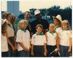 Governor George Sinner with unidentified man and 4-H members, Bismarck, N.D.