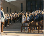 Guests of honor walking down capitol steps at North Dakota Centennial celebration, Bismarck, N.D.