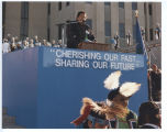 Ed Lone Fight speaking at North Dakota Centennial celebrations, Bismarck, N.D.