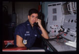 Deputy Missile Combat Crew Commander at console on phone Missile Launch Facility, North Dakota
