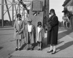 Ruth, Glenn, Evelyn and Grace Sorlie on Sorlie Memorial Bridge, Grand Forks, N.D.