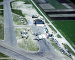 Aerial view of Bismarck Airport and President Eisenhower's planes for the dedication of Garrison...