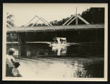 People on excursion boat underneath Mouse River Park Bridge, McKinney, N.D.