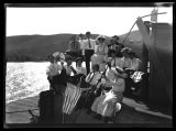 Group from Kenmare on outing on Steamer Gordon Fawcett on Upper Des Lacs Lake, N.D.