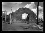 Building under construction, Fort Abraham Lincoln, Mandan, N.D.