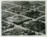 Aerial over school and church, Ray, N.D.
