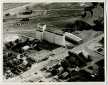 Aerial over Farmers Union elevator, Williston, N.D.