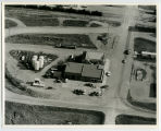 Aerial over Co-op gas station, Grenora, N.D.