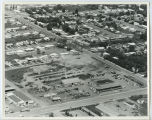 Aerial over Minot Lumber and machinery sales, Minot, N.D.