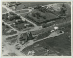 Aerial over Farmers Union elevator, Donnybrook, N.D.