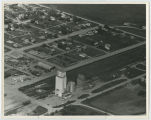 Aerial over Farmers Union elevator, Sherwood, N.D.