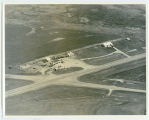 Aerial over gas station and cafe, Churchs Ferry, N.D.