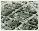 Aerial over hospital and church, Rolla, N.D.