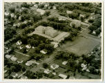 Aerial over school and church, Northwood, N.D.