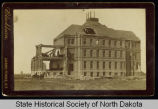 Old Main building after tornado, University of North Dakota, Grand Forks, Dakota Territory