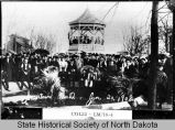 Crowd posed in park, Jamestown, N.D.
