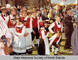 Children in Norwegian garb waiting for Olav V, Island Park, Fargo, N.D.