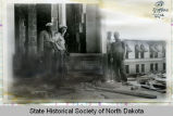 Workers with cornerstone, North Dakota capitol building, Bismarck, N.D.