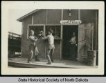Men sparring at Army Supply House, Civilian Conservation Corps Camp 2760, Wishek, N.D.