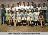 Fort Yates Public School fifth and sixth grade class portrait, Fort Yates, N.D.