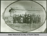 Louise Van Solen and students at day school between Fort Yates and Cannonball, N.D.